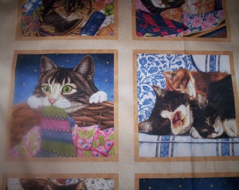 1 Panel Sew Curious by Annie Mortimer for Wilmington Fabrics 6 blocks cute cats