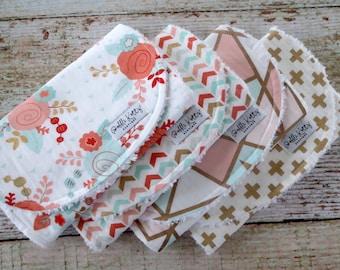 Baby Burp Cloths - Baby Girl Burp Cloths - Mint Blush Rose Burp Cloths - Mint Blush Gold Geo Burp Cloth - Mint Blush Arrow Burp Cloth