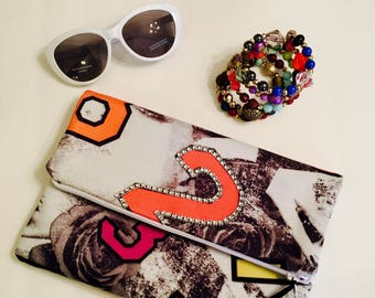 letter clutch handmade with bling bag accessory glasses and bracelet sold separately