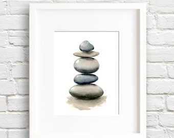 Stacked Rocks - Art Print - Wall Decor - Watercolor Painting