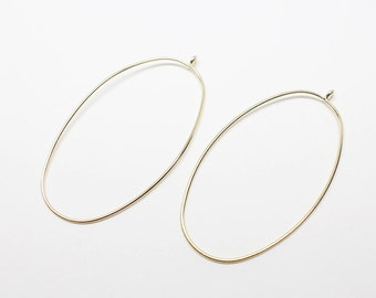 P0592/Anti-Tarnished Gold Plating Over Brass/Large Ellipse Pendant/28x54mm/4pcs