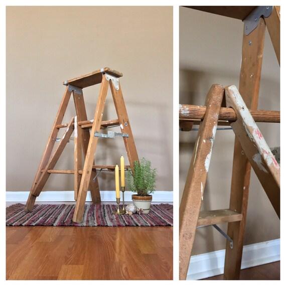 34 haut vintage escabeau bois chelle en bois d co. Black Bedroom Furniture Sets. Home Design Ideas