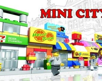 Mini City - 12 LEGO Compatible Building Sets - 451 Brick Pieces