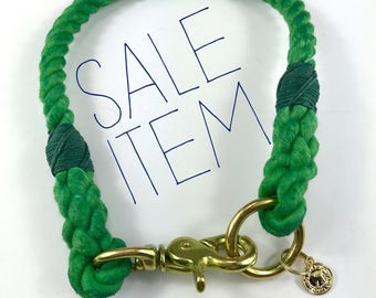 "SALE ITEM! 17.5"" Green Rope Dog Collar"