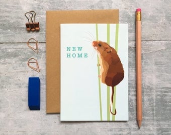 Mouse Card - Mouse New Home Card - New Home Card - Animal Card - Woodland Animal - Mouse Greeting Card - New Pad - Cute Mouse Card