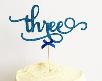 Third Birthday Cake Topper, 3rd birthday, Three, Glitter Delicate Script, Anniversary, Custom Number, Celebration Cake Decoration