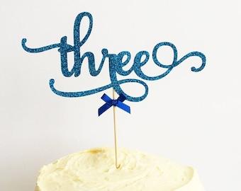 Third Birthday Cake Topper, 3rd birthday, Three, Glitter Delicate Script, Anniversary, Custom Number, Celebration Cake Decoration