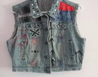 Medium Bloody Colorful Patch Work Denim Punk Vest Jacket