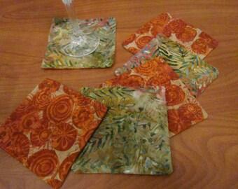 Orange Batik Coasters