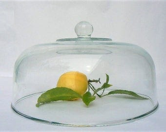 "Large Clear Glass Dome Cake / Cheese Cover with Knob Handle - Garden Horticultural Seedling Food Display Glass Replacement Cover 10 1/4""Wide"