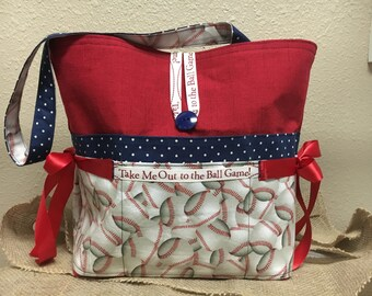 Take me out to the ball game with this cute baseball diaper bag!