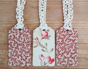 Three Handmade Vintage Fabric Gift Tags, Shabby Chic
