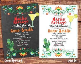 nacho average bridal shower invitation, nacho average cactus wedding shower invite, cactus margarita bridal shower invitation, fiesta shower