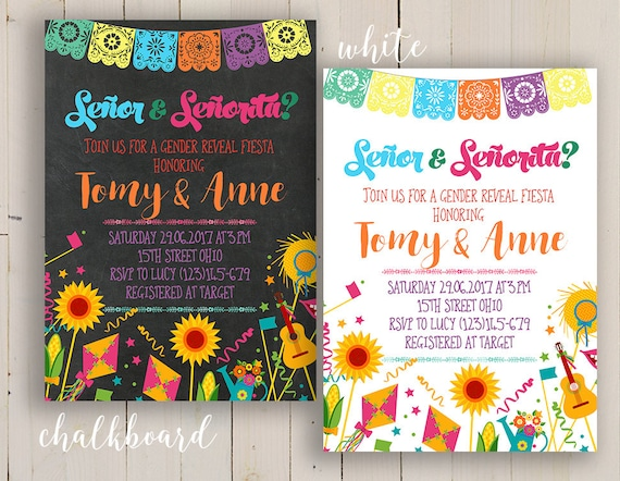 senor or senorita party invitation gender reveal fiesta