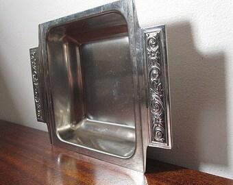 Vintage 60s International Decoration Stainless Steel Square Serving Bowl