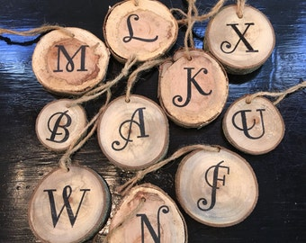Wooden Initial Ornaments