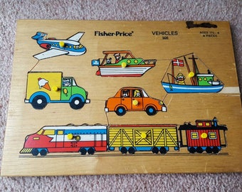 Vintage Fisher Price 8 piece Vehicles Wooden puzzle #508