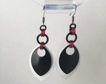 Black white and red Scale Earrings
