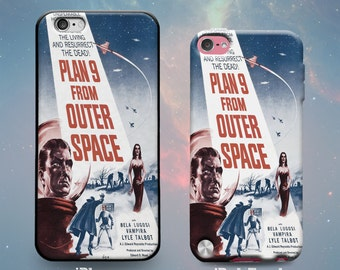 Plan 9 from Outer Space Classic Horror Movie Atomic Age Vampira Ed Wood 50s Rubber Case for iPhone 7 6s 6 Plus iPhone SE 5s 5 5c iPod Touch