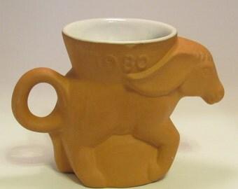Democratic Party Donkey Mug 1980 Vintage Dem Coffee Cup Donkey Political Mug