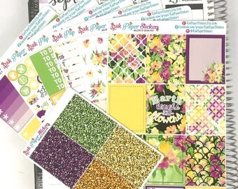 Summer Floral - 7 Sheets weekly decorating kit for your Erin Condren Life Planner!
