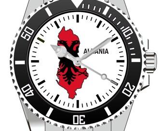 Albania Albania country outline clock - watch 1108
