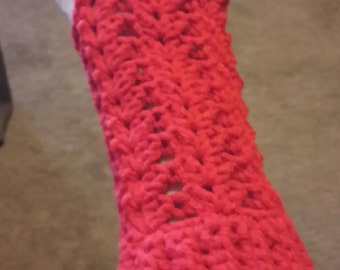Hand crocheted Lacey Wrist Warmers / Fingerless Gloves - Cherry Red