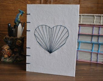 A5 Handmade Paper Journal Notebook - Heart Cover