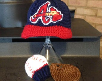 Baseball Hat with Glove and Ball Mittens, Baby BASEBALL Mittens, Atlanta BRAVES inspired (Handmade by me and not affiliated with the MLB)