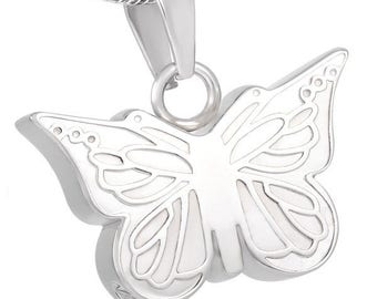 Dainty Butterfly Cremation Urn Jewelry Necklace Pendant Memorial Ashes