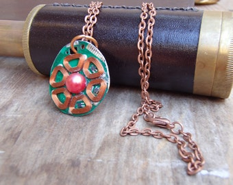 Circuit Board Necklace. Recycled from Old Computer. Real Copper Wire with Faux Pearl center. FREE SHIP in USA!