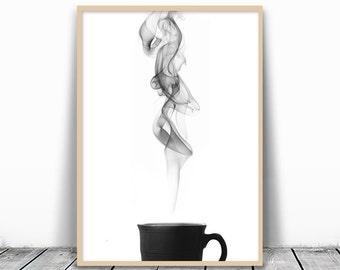 Zen Art, Zen Decor, Zen Wall Print, Minimalist Art Print, Black and White Print, Zen Wall Art, Tea Wall Art, Coffee Printable, Coffee Poster