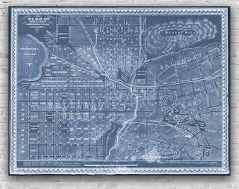 Ballarat Map - H.Deutsch Blueprint Map 1860's, poster, print, antique map, wall art, Ballarat