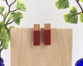 """Red 1"""" Wood Post Earrings"""