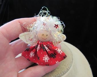 Vintage Christmas Hand Made Cloth Girl/Angel Pin