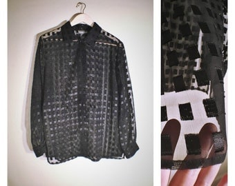 80s Notations sheer block patterned black long-sleeve button-up