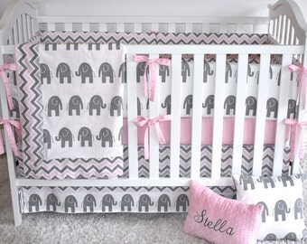 Grey and Pink Elephants Crib Bedding, safari,Baby Girl,jungle, safari, modern nursery, pastel colors, grey, pink, chevro