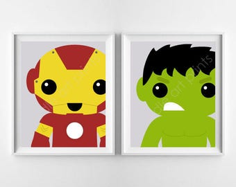 Super Heroes Art Prints, Avengers Art Print BUNDLE, Hulk and Iron Man, Boy Playroom Nursery Wall Art Decor, Digital Instant Download 8x10""