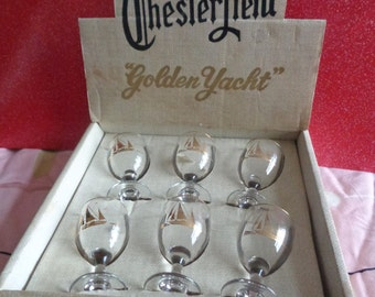 Vintage Mid Century 1950's  boxed set of 6 Chesterfield Golden Yacht drinking glasses. Sailing. Nautical.  Kitsch Christmas gift.  Barware