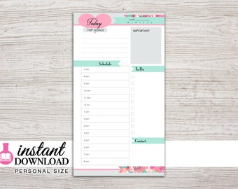 Planner Printable - Daily Inserts - Filofax Personal - Kikki K Medium - 3.75 x 6.75 in. - Design: Flirty Girl