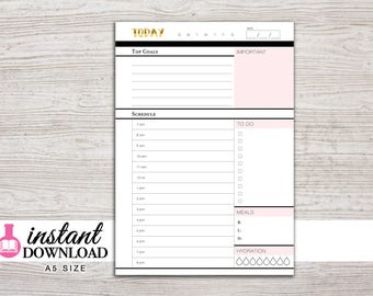 A5 Planner Printable - Daily Inserts - with Schedule and To Do - Filofax A5 - Kikki K Large - Design: Goldie