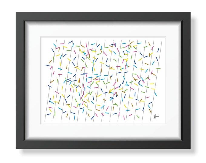 Pi sticks 02 [mathematical abstract art print, unframed] A4/A3 sizes