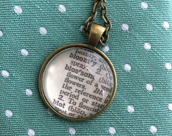 BLOSSOM Vintage Dictionary Word Pendant