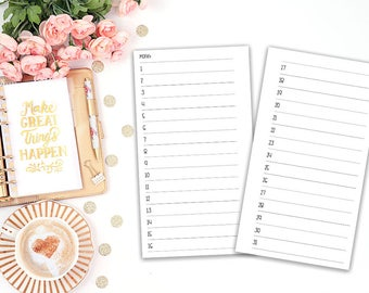 1 Month 2 pages vertical - Printable Planer Insert Filofax Personal - MO2P - Planner Refill - Kikki K Medium - print at home