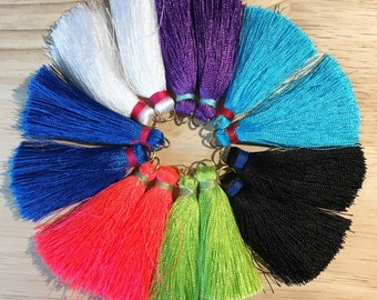 Tassle fringe colorful thread earrings with gold fishhook non nickel