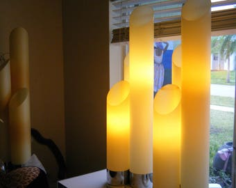 Pair Of Vintage MCM Retro Stacked Tower Cylinder Lamps By TORINO of Italy