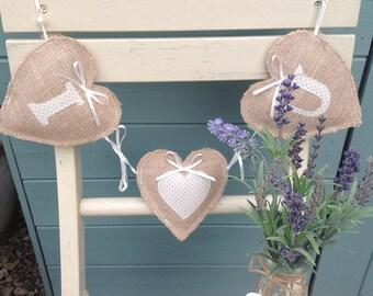 valentine heart garland, valentines garland, fabric heart garland, lavender hearts, lavender gift, valentines decor. Valentine's Day decor