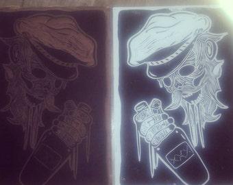 linogravure Davy Jones linocut linoprint
