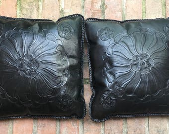 Black Hand Tooled Leather Pillows Set (2)
