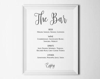 Wedding bar sign printable Drinks sign print Wedding menu sign ideas Drink menu minimalist Bar menu sign Black and white menu board T140
